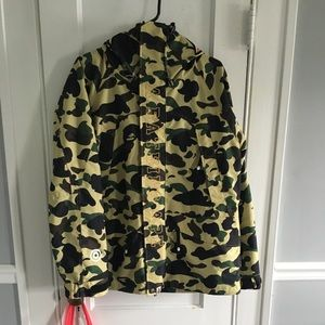 A Bathing Ape Yellow Camo Shark Snowboard Jacket